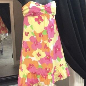 Lily Pulitzer Strapless Ruffle Bottom Dress